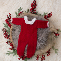 D&J Newborn Baby Romper Photography Props Mohair Crochet Knit Red Rompers Infant Toddler Studio Shooting Photo For Christmas