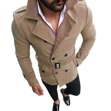 YJSFG HOUSE Brand Men s Wool Blends Jackets Suede Lapel Double Breasted Trench Winter Autumn Coats