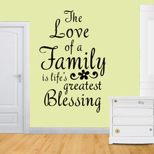 Fashion Quotes Wall Decals PVC Vinyl Character Living room Quote The love of a family is lifes greatest bleesing  BC-3