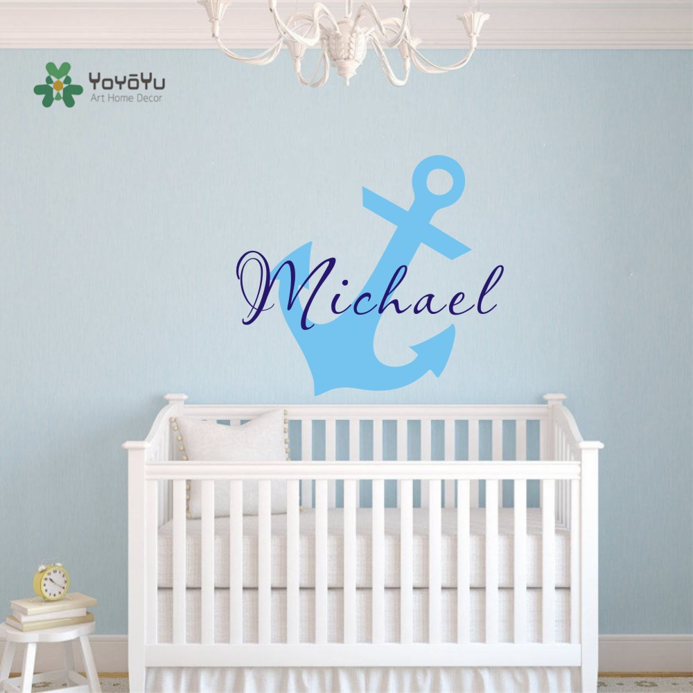 Little Anchor Vinyl Wall Sticker Personalized Boys Name Vinyl Wall Decals Kids Baby Bedroom Art Decoration Wall Mural D-327