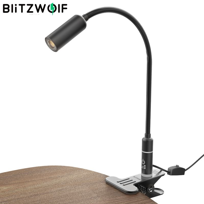 BlitzWolf Table Light Touch 2.8W On/off Switch Clip-on Flexible Table Desk Lamp Touch Sensor Dimmable Reading Light AC100-240V