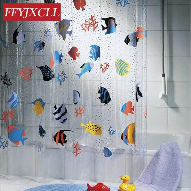 180*200cm PVC Transparent Tropical Fish Bathroom shower curtain ...
