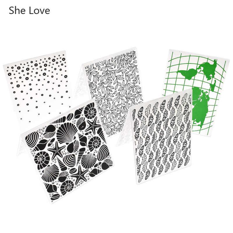 انها الحب القلب نجمة البحر قذيفة البلاستيك النقش مجلد ل بطاقة صنع القصاصات DIY ألبوم البلاستيك قالب ختم الديكور