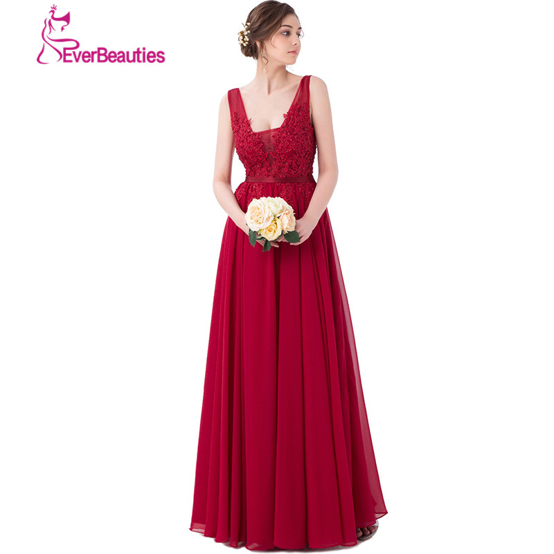 エレガントなワインカラーのイブニングドレスロングアップリケシフォンウエディングドレス2019フォーマルエリーサーブドレスvネックローブ・デ・ソワレ