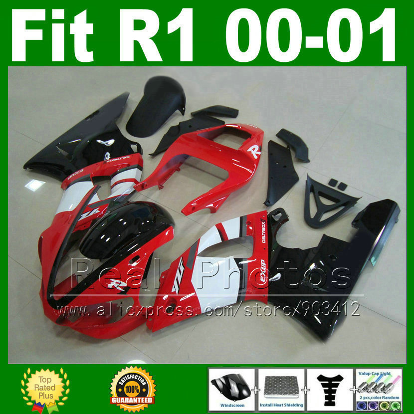 Lowest price Fairings fit for YAMAHA YZF R1 2000 2001 red white kits body YZFR1 00 01 bodywork fairing kit parts Y2Z1