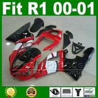 Precio más bajo carenados para YAMAHA YZF R1 2000 2001 rojo blanco carrocería kits de corriente 00 01 carrocería carenado piezas del kit Y2Z1