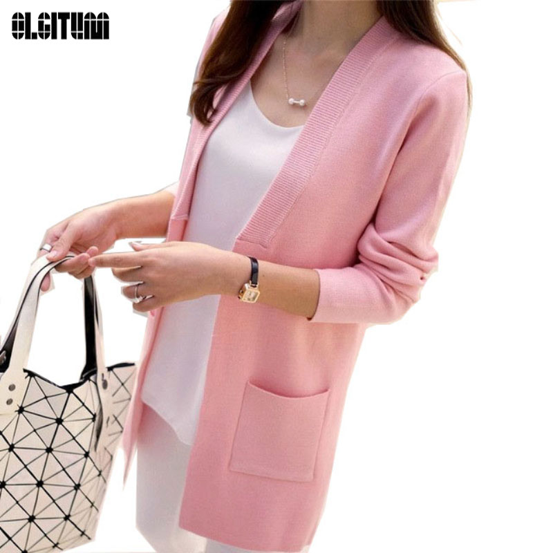 OLGITUM Women Sweater Long Soil Cardigan 2019 New Knit Sweater Outwear Coat Korean Slim Pocket Loose  SW522