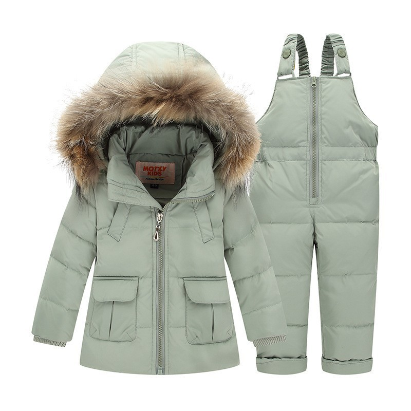 Winter Boys Coat Girls Suit Snowsuit 2Pcs Set Children Clothing Set Baby Duck Down Jacket Pants Overalls Warm Kids Clothes H340 стоимость