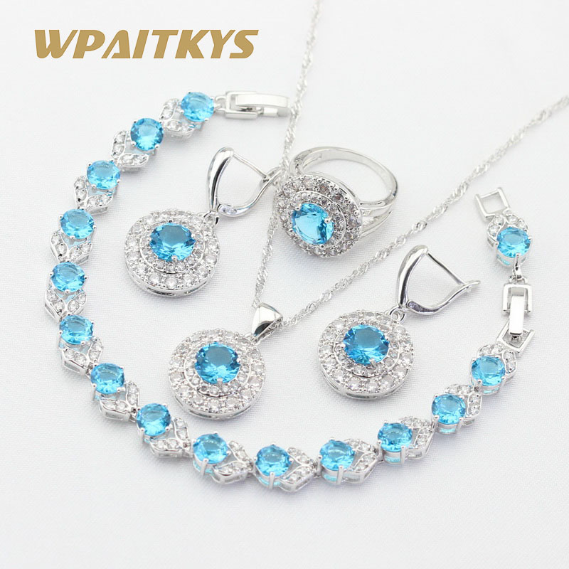 round light blue white cz silver color jewelry sets for