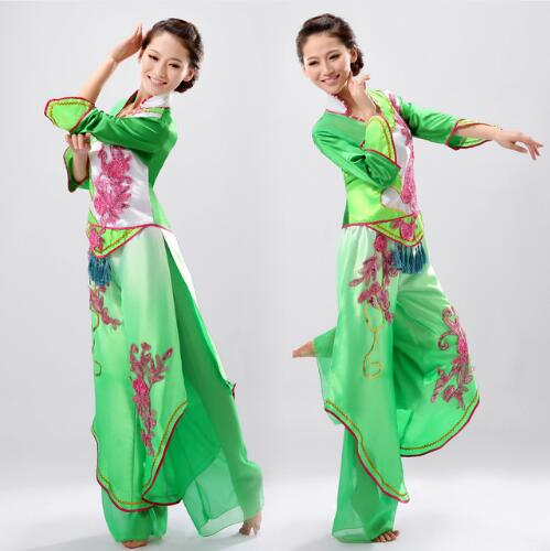 (0139) Green yangko dance clothing new fan dance clothing modern dance costumes classical dance stage performance costumes