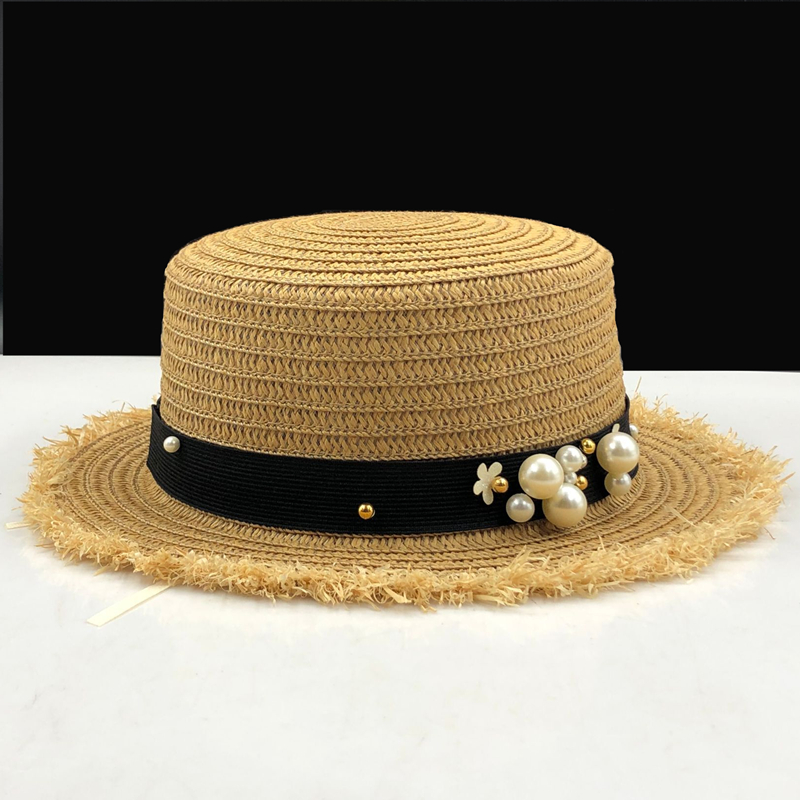 49fd63a04009f lovely Flat top straw hat Summer Spring women s trip caps leisure pearl beach  sun hats black breathable fashion flower girl hat