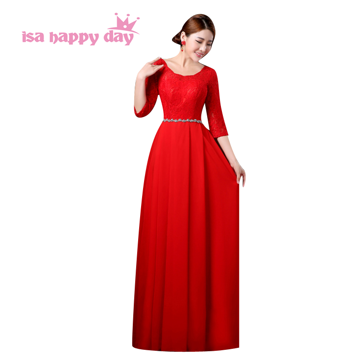 Occasion Ladies Sexy Red Elegant Modest Plus Size Modest A Line