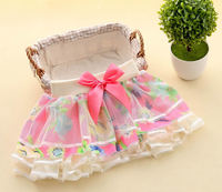 Korean girls chiffon skirts spring and autumn flowers baby bow gauze cake skirt fields and gardens 2-6Year blue hot pink
