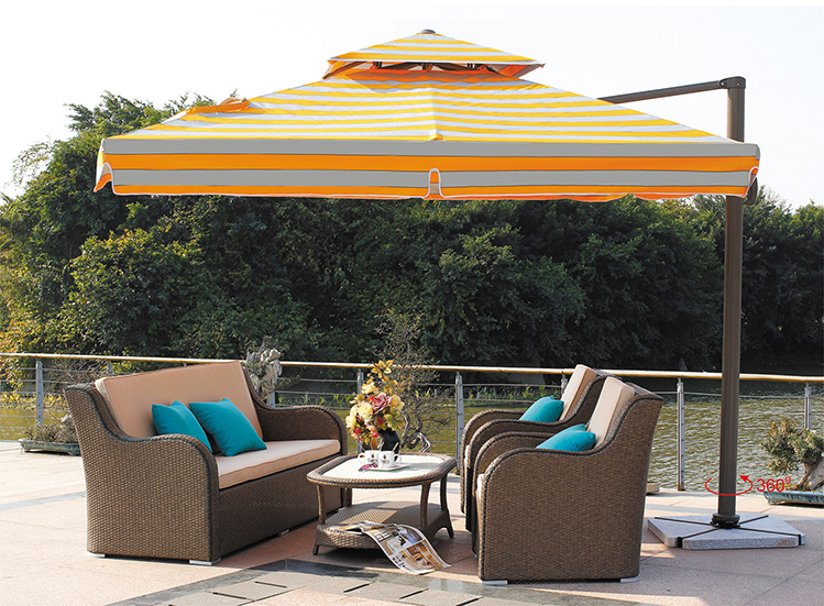 Large square umbrella outdoor furniture Roman villa