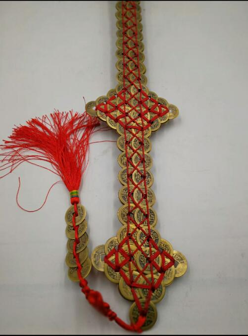 Double rangée courte épée Qianlong pièces de monnaie talisman résoudre jieyinling bronze désastre