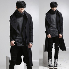 2017 Male velvet with a hood trench autumn and winter male fashion male punk outerwear long designThe singer's clothing M-XL