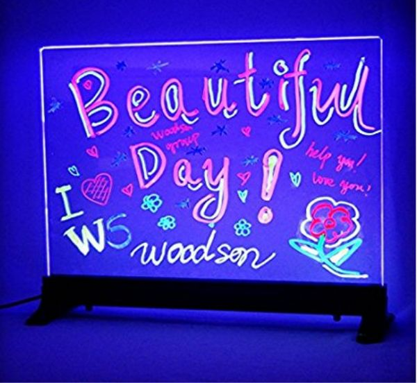 design your own Custom Flashing Illuminated Erasable Neon LED Message Menu Sign Clear Glass Writing Board