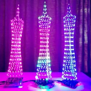 Image 5 - צבעוני LED מגדל DIY ערכות ספקטרום תצוגת מנורת מוסיקה אלקטרונית הלחמה אינפרא אדום שלט רחוק/WIFI APP/Bluetooth מתנה