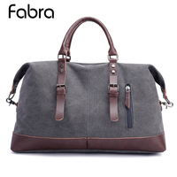 Fabra Vintage Military Canvas Leather Men Travel Carry On Luggage Men Duffel Bags Travel Tote Large