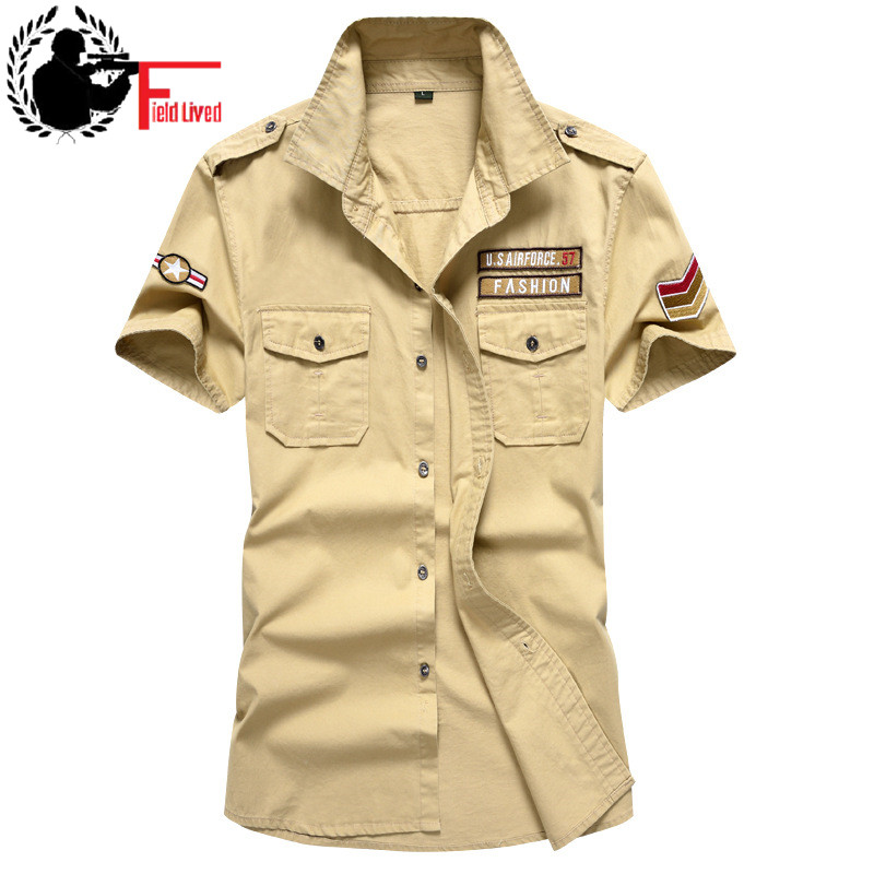New Fashion Men/'s Army Military Casual Shirt Short Sleeve Military Style Shirts