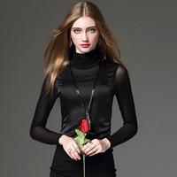 1pcs Ladies Plus Size Blouses Tops 2016Autumn Pure Silk Splicing Diamonds TurtleNeck Primer Shirt Women Skinny