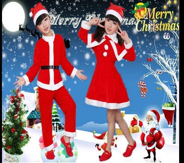 Детская рождество одежда для взрослых мальчик Маскарад Девушка Рождественская Презентация Костюмы Дети Дед Мороз Платье