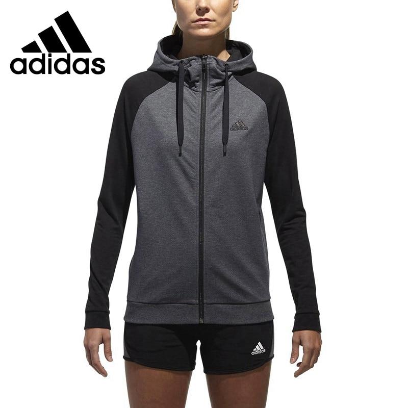 Original New Arrival 2018 Adidas ISC CONTRAST HD Women's jacket Hooded Sportswear stripe contrast ruffle hem hooded dress