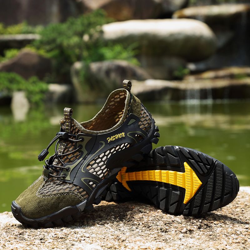 07208461a72 US $24.51 43% OFF|SENTA Summer Men Hiking Shoes Outdoor Climbing Anti skid  Wear Resistant Trekking Boots Breathable Mesh Walking Shoes-in Hiking Shoes  ...