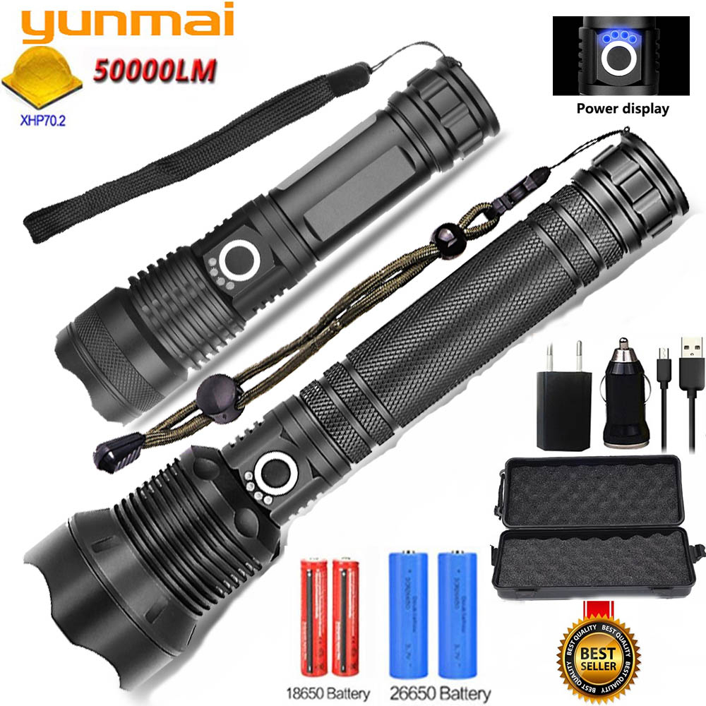 Yunmai 80000LMs Powerful LED Flashlight XHP70 XHP50 Rechargeable USB Zoom Torch XHP70.2 18650 26650 Self Defense Hunting Lamp