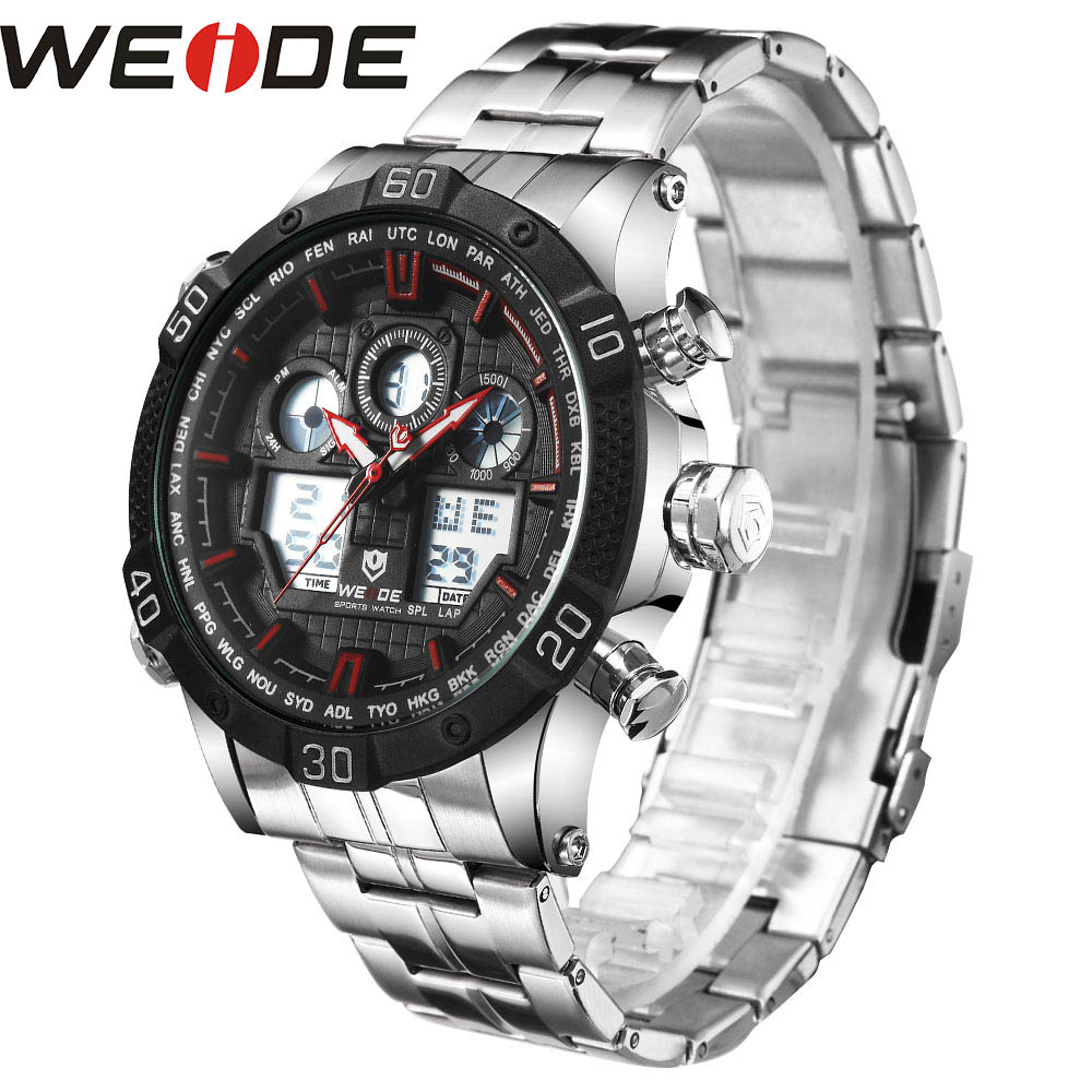 WEIDE Quartz Sports Wrist Watch Genuine Automatic Men Watches Top Brand Luxury Men watch Analog stainless steel date digital led top brand luxury digital led analog date alarm stainless steel white dial wrist shark sport watch quartz men for gift sh004