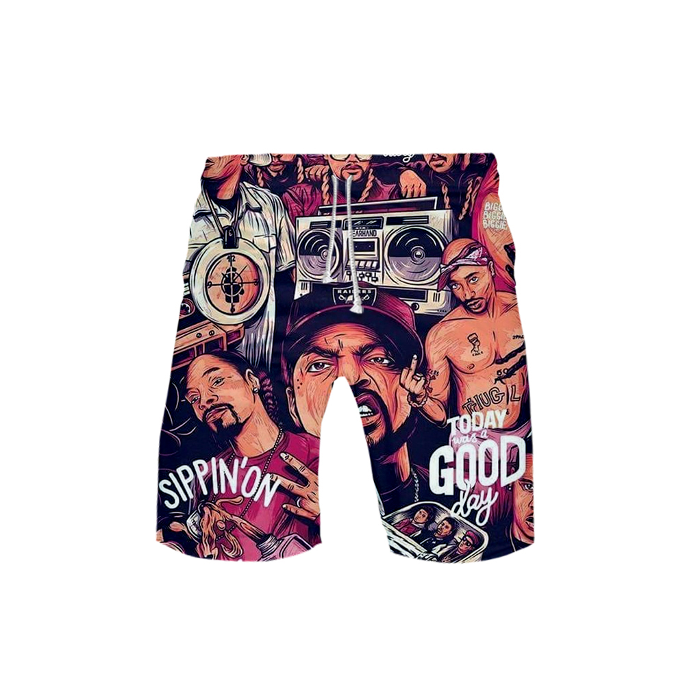 Shorts Men Knee-Length Fashion Summer Casual Spring 3D Harajuku Rapper Print-Board BIGGIE