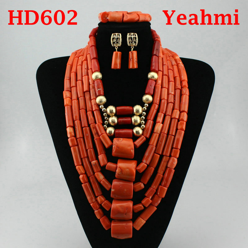 Amazing Real Big Coral Beads African Wedding Jewelry Set Nigerian Women Costume Bridal Coral Gold Statement Necklace Set HD602 цена