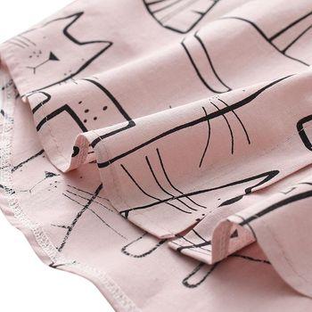 Cute Cat Print Loose Casual Ladies Blosues Tops Women Turn Down Collar Long Sleeve Shirt Blouse Femme 10