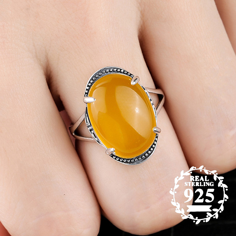 10*14mm NOT FAKE S925 Sterling Silver Ukraine Amber Rings Exaggerated Rings Health Rich Lithuania Retro Handmade