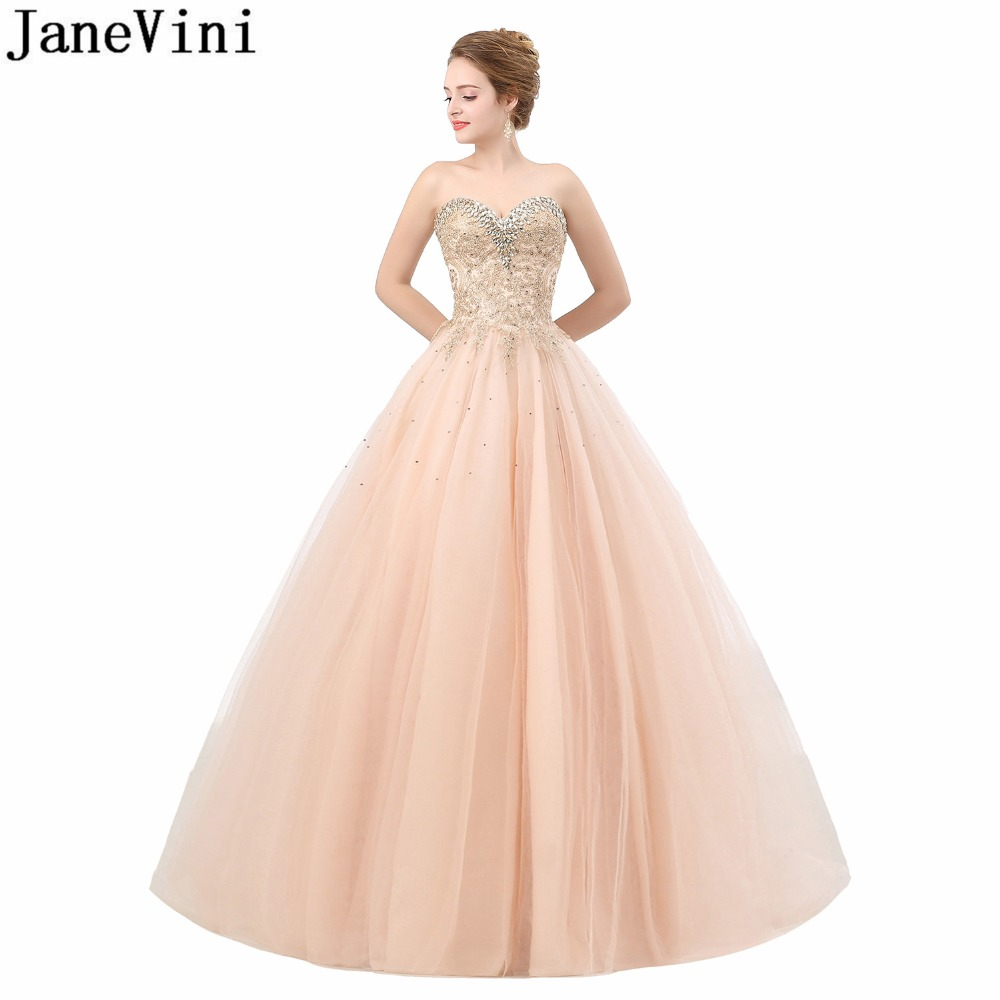 JaneVini Elegant Sweetheart Crystal Pageant Prom   Dress   Champagne Beaded Tulle Wedding Party   Dress   Long   Bridesmaid     Dresses   Lace