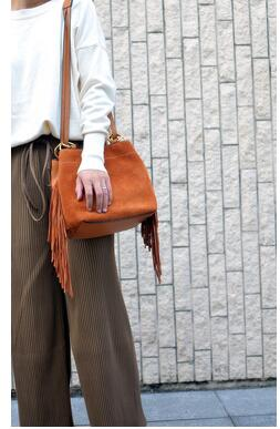 2018 new type of cowhide frosted joint bucket bag fashionable autumn and winter new women s