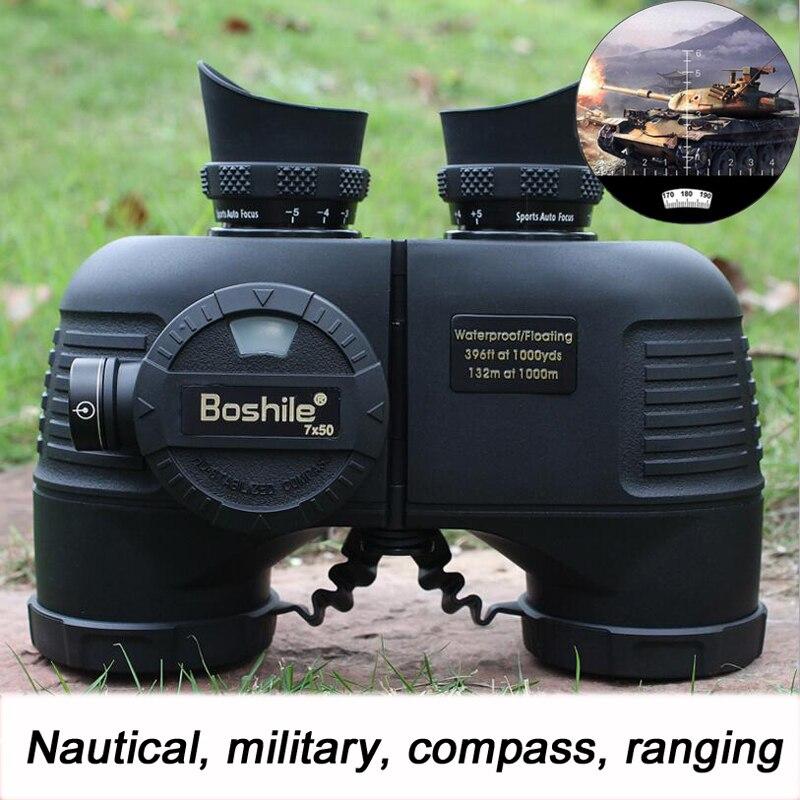 Boshile Puissant Militaire Jumelles Azote Étanche Haute qualité 7X50 Télémètre Binoculaire hd Grand Azimut Boussole 4 Couleurs