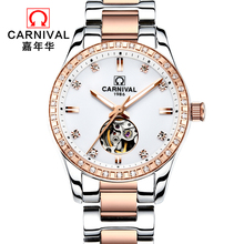 2017 Promotion New Genuine Carnival Watch Lady Automatic Mechanical Rose Gold Diamond Fashion Student Waterproof Hollow Crown
