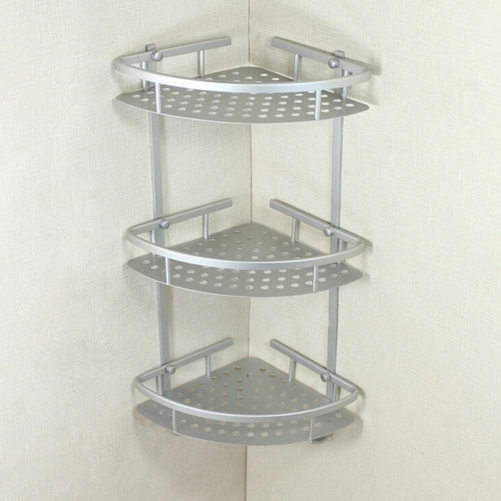 Space aluminum Bathroom Shelf Three Layer Wall Mounted Shower ...