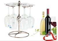 Fashion Home Decoration Wine Glass Rack Upside Down Hanging Cup Holder Hold 6 Glasses Bronze