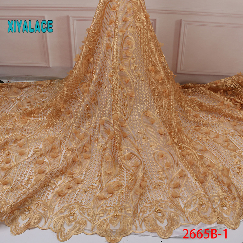 2019 New Style French Net Lace Fabric 3D Flower African Tulle Mesh Lace Fabric High Quality Lace Nigerian Lace Fabric YA2665B-1