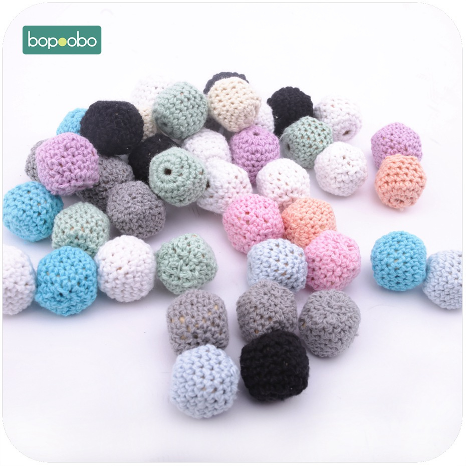 Bopoobo Wooden Crochet Octagonal Beads 20mm 5pc Chew Wooden Beads Teething Jewelry DIY Necklace Bracelet Baby Teether
