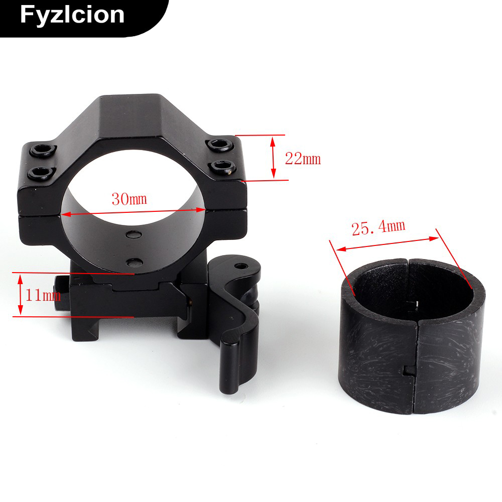 30mm/25.4mm 1 2PCs Low Profile Quick Release Scope Mount Ring Adapter 20mm Scope Mount Rail Weaver Picatinny Flashlight Hunting