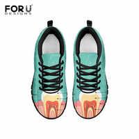 FORUDESIGNS Dentist Diagram Brand Women Shoes Teen Girls Mesh Sneakers Personality Lace-up Shoes Leisure Footwears Sneakers