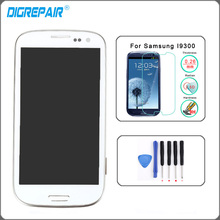 White LCD Display For Samsung Galaxy S3 i9300 Touch Screen Digitizer with Home Button Assembly+Bezel Frame+Tempered glass+Tools