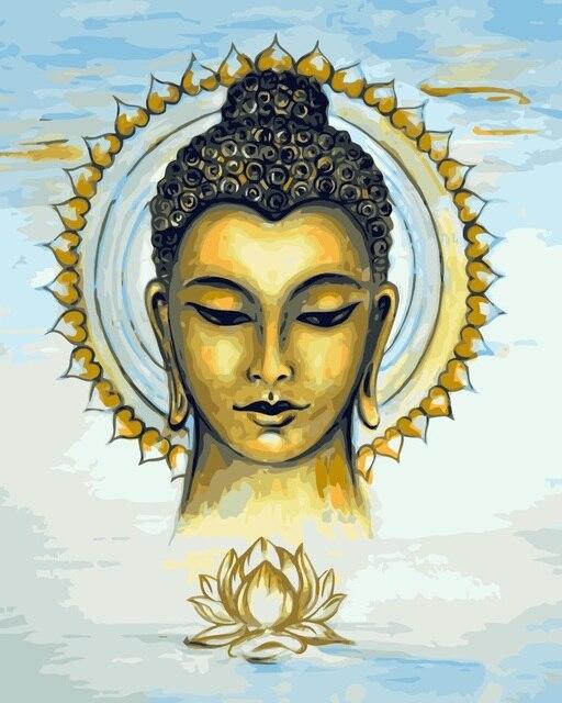 Mahuaf J005 Buddha Lukisan Mewarnai Dengan Nomor Digital Diy Lukisan