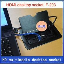 Tomada de mesa/hidden/saída de caixa de informações multimídia/rede RJ45, USB HDMI de Áudio/interface VGA tomada de desktop F-203
