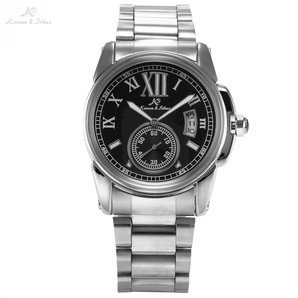 KS Business Casual Black Dial Analog Date Silver Stainless Steel Strap Men's Wrist Automatic Mechanical Self Wind Watch / KS064  цена и фото