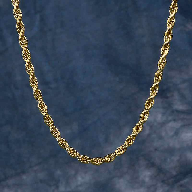Rope Chain Gold Necklace Singaporean Chain Venetian Chain Necklace for Men and Women 3mm Hip Hop Jewelry Culture
