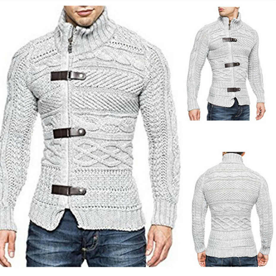 2019 가을 겨울 남성 스웨터 카디건 남성 브랜드 캐주얼 슬림 뜨개질 스웨터 남성 따뜻한 두꺼운 헤지 터틀넥 스웨터 코트